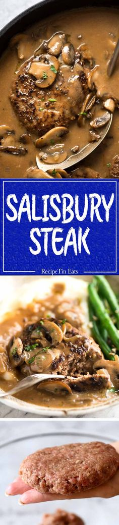 Salisbury Steak with Mushroom Gravy - Juicy steaks with my little tip for extra flavourful gravy! www.recipetineats.com