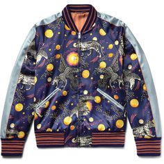 Gucci Space Animals Slim-Fit Printed Satin Bomber Jacket ❤ liked on Polyvore featuring men's fashion, men's clothing, men's outerwear, men's jackets, mens slim fit jackets, mens slim jacket, mens satin bomber jacket, mens slim fit bomber jacket and gucci mens jacket