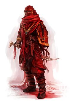 Character Human Traveler fighter oriental elite NPC Unmagical concept clothing wield sabre sword realistic