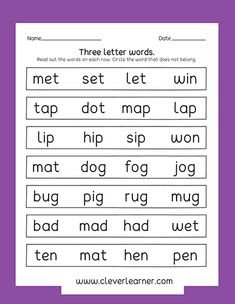 reading three letter words worksheets 1 education pinterest worksheets preschool. Black Bedroom Furniture Sets. Home Design Ideas