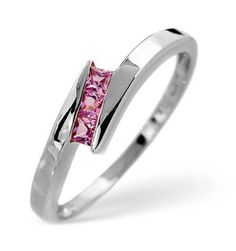 Pink Sapphire Channel Set Ring 0.20ct, White Gold