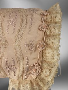Hand embroidered silk bonnet...i would break down and cry like a newborn to be able to make that.