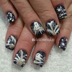 Snow winter owl nail art by me