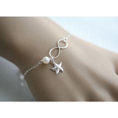 Infinity and birthstone bracelet,Starfish bracelet,Beach... ($37) ❤ liked on Polyvore