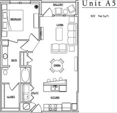 Unit A5 - 1 BR, 1 BA - 822 Net Sq.Ft.