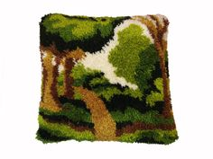 Retro Hooked Pillow Tree Park Nature Scene Yarn Handmade Vintage Throw Pillow