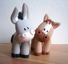 Cheval et âne - Myriam Lakraa Créations - Pâte polymère Fimo (polymer clay) - 2005