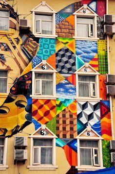 Obie Platon -Allan Dalla in Shanghai / Shanghai, China, collaboration with William Chou - detail Street Art Best Street Art, Amazing Street Art, Murals Street Art, Street Art Graffiti, Beautiful Streets, Arte Popular, Chalk Art, Land Art, Dream Decor
