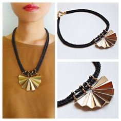 Black and gold necklace featuring gold tone center piece with black silk rope Black Silk, Gold Necklace, Jewelry, Fashion, Moda, Jewels, Fashion Styles, Schmuck, Jewerly