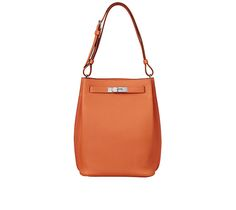 "So-Kelly 22 Hermes bag in orange togo calfskin Measures 8.5"" x 12"" x 4.5"" Zip front pocket, flat back pocket, adjustable strap Silver and palladium plated hardware Color : orange"