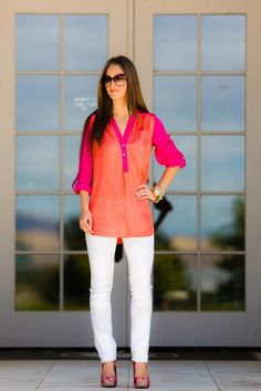 White pants, and a bright top!