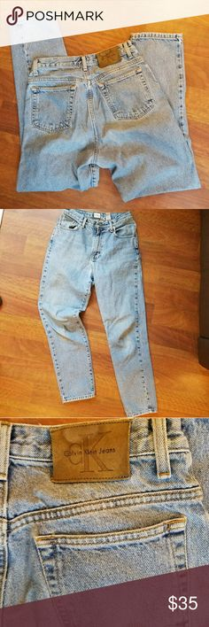Calvin Klein High Waist MOM JEANS Size 7/8 These are sweet. TOTALLY original old school! Vintage skinny leg mom jeans with a high waist.  All broken in with a light wash color now. I LOVE THEM! Size 7/8 Brand: Calvin Klein Calvin Klein Jeans Skinny
