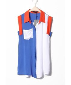 Women Summer ZARA New Splicing Revers Neck Pocket Sleeveless Cotton Blue T-Shirt S/M/L@II1030bl $12.99 only in eFexcity.com.