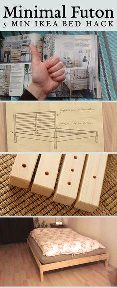 Super easy 5 min IKEA Tarva futon bed hack @undelisch Pinterest Image