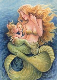 Baby mermaid with mirror