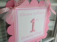 Pink and White First Birthday Party Door by inspirationsdesign, $12.00