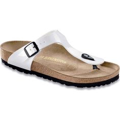Birkenstock Women's Gizeh Bright White Patent Birko-Flor Thongs &... ($95) ❤ liked on Polyvore featuring shoes, sandals, flip flops, white, white thong sandals, arch support flip flops, patent leather shoes, toe thong sandals and white sandals