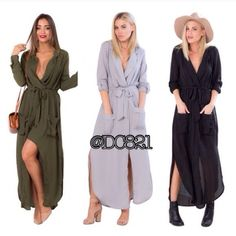 Trench Dresses Super stylish trench dresses in color olive, black or grey. Elastic waist, two front pockets and removable belt. Made of chiffon semi see through. Pair this with a cami, leggings and a wide belt with booties for a chic look. Brand new without tags. S, M, L Dresses