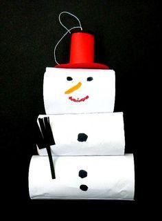 Schneemann aus Klorollen - Weihnachten-basteln - Meine Enkel und ich - Made with schwedesign.de