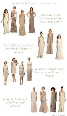 Mismatched neutral bridesmaids dresses
