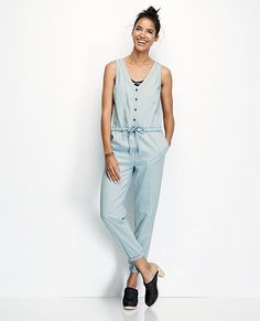 Chambray Jumpsuit | Womens Bottoms