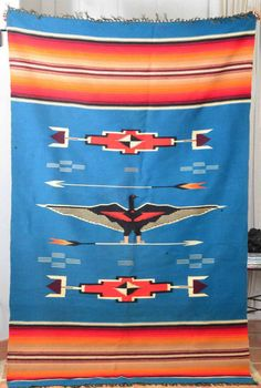 "Fantastic Chimayo Native American Woven Blanket Thunderbird Design 75""x46"" in Collectibles, Cultures & Ethnicities, Native American: US 