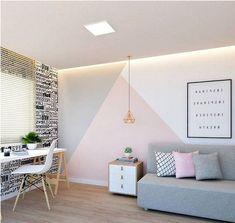 33 Best Geometric Wall Art Paint Design Ideas - Best My deas Girl Bedroom Walls, Bedroom Wall Colors, Room Ideas Bedroom, Girl Room, Bedroom Decor, Cozy Bedroom, Bedroom Wall Designs, Kids Room Paint, Home Room Design