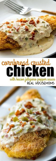 Cornbread Crusted Chicken with Bacon Jalapeno Popper Sauce is an easy to make dinner that's packed with flavor and is sure to become your new favorite meal! via @realhousemoms