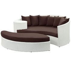 White Synthetic Rattan W/Brown Cushion