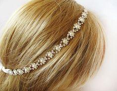 Bridal crystal pearl  headband Rhinestone Wedding by ADbrdal, $32.00