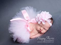 Palest Pink Newborn Tutu and Headband newborn by alliballiboutique