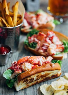 Classic Maine Lobster Rolls Bring a taste of coastal New England to your table with these Maine Lobster Rolls! See how fresh, simple ingredients make these lobster salad sandwiches a crave-worthy summertime classic. Lobster Roll Recipes, Fish Recipes, Seafood Recipes, Lobster Rolls, Cooking Recipes, Best Lobster Roll, Lobster Dishes, Seafood Dishes, Fish And Seafood