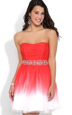 Deb Shops #Ombre Strapless #Dress with Chunky Stone Trim Waist and A-Line Skirt $76.90