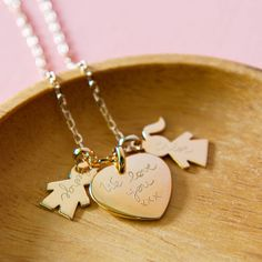 personalised family charm chain necklace by merci maman   notonthehighstreet.com
