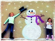 Snowman and kids Sidewalk chalk picture perfect for the holiday season. Maybe a Xmas card idea....