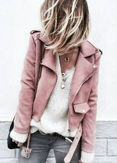 Wearable Wants, white cashmere, pink moto jacket, pink jacket, lambskin jacket Mode Outfits, Casual Outfits, Fashion Outfits, Fashion Trends, Womens Fashion, Fashion Ideas, Outfits 2016, Fashion Tips, Denim Outfits