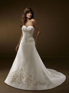 A Line Princess Sweetheart Chapel Train wedding dress for brides 2011 style WDE0131