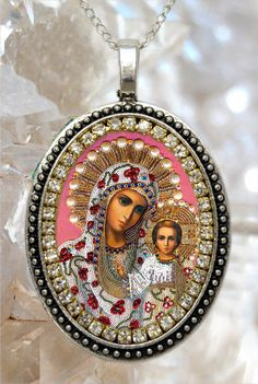 Our Lady of Kazan Handmade Necklace Catholic Christian Religious Jewelry Medal Pendant Our Lady of Perpetual Succour Theotokos Religious Jewelry, Religious Art, Mourning Ring, True Gift, Religious Pictures, Blessed Mother Mary, Our Lady, Necklace Designs, Handmade Necklaces