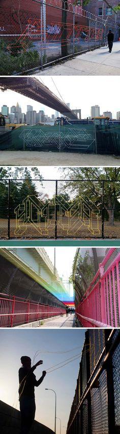 Hot Tea Yarn-bombing Banksy Tribute, East 4th St, NYC, BanksyNYC, street art…