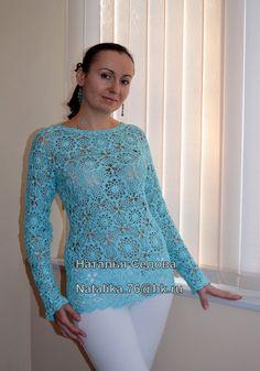 Одноклассники Russian Crochet, Irish Crochet, Knit Crochet, Irish Lace, Clothing Items, Tunic Tops, Crafty, Knitting, Long Sleeve