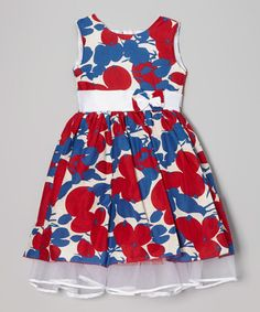 Look what I found on #zulily! Blue & Red Floral Dress - Infant, Toddler & Girls #zulilyfinds
