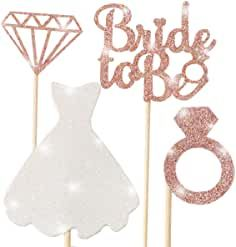 Bridal Shower Cupcake Topper, Sparkling Glitter Rose Gold Bride to Be, Diamond Ring, Wedding Dress Cupcake Toppers for Engagement Wedding Bachelorette Party Bridal Shower … Wedding Dress Cupcakes, Bridal Shower Cupcakes, Bridal Shower Party, Bachelorette Party Decorations, Bridal Shower Decorations, Shower Dress For Bride, Diy Wedding Reception, Glitter Roses, Wedding Engagement