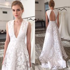 """""""Unconventional Elegance! Style """"The Lake"""" deep V-neck A-line gown featuring metallic floral fil coupe with open back from Lela Rose Fall 2016 Wedding…"""""""