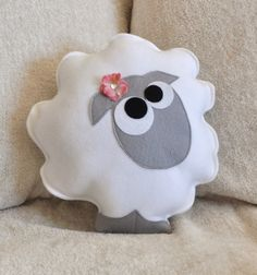 Nursery Decor Count the Sheep Plush Pillow Gray by bedbuggs