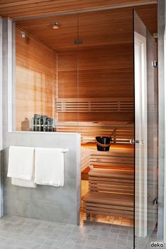 Sauna next to fitness room in basement