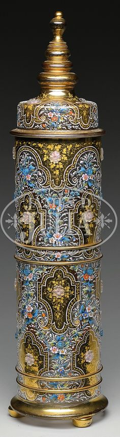 MOSER DECORATED COVERED JAR.