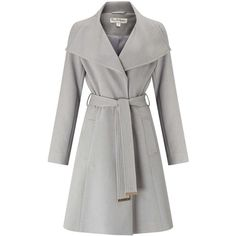 Miss Selfridge Grey Wrap Fit And Flare Coat ($95) ❤ liked on Polyvore featuring outerwear, coats, light grey, wrap coat, gray wrap coat, grey coat, miss selfridge coats and miss selfridge