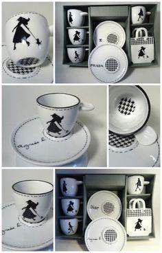 tasse à café pied de poule,tasses en porcelaine peintes à la main