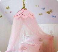 DIY girls mosquito net flower and butterflies