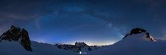 Cosmic arch  Our milky way looking like a bridge between the Cosmiques Hut and the summit of Aiguille du Midi